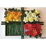 Цветы и флористика ручной работы. Ярмарка Мастеров - ручная работа Картина из тропических цветов по мотивам работ Yukiko Miyai. Handmade.