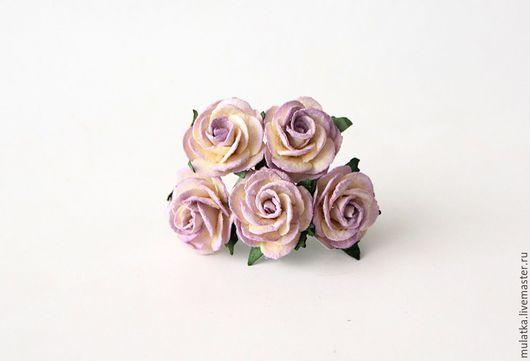 Открытки и скрапбукинг ручной работы. Ярмарка Мастеров - ручная работа. Купить 1141 Midi розы 2,5 см - Св.сиреневый +молочный. Handmade.