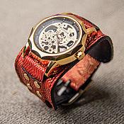 Часы наручные ручной работы. Ярмарка Мастеров - ручная работа Часы механические наручные женские Red Dragon, на широком ремне. Handmade.