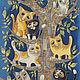 Фантазийные сюжеты ручной работы. Ярмарка Мастеров - ручная работа. Купить Дерево кошек. Handmade. Шелк натуральный, кошка, панно