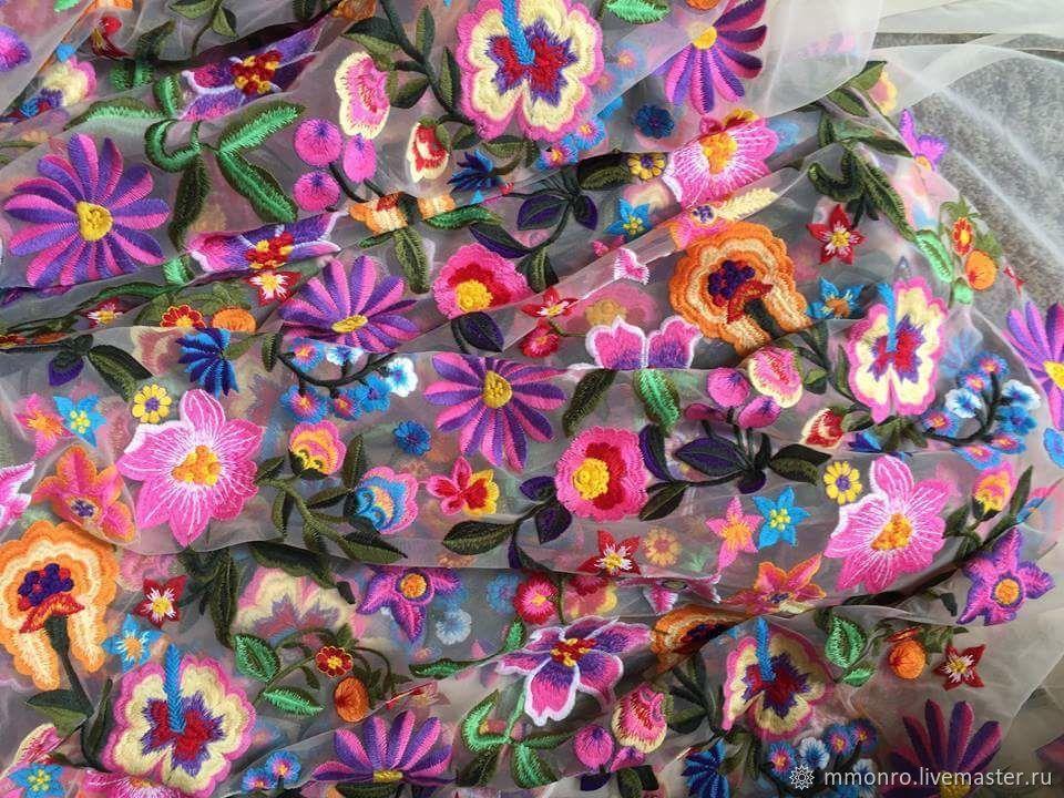 Cotton embroidery on mesh, Jill, Fabric, Podolsk,  Фото №1