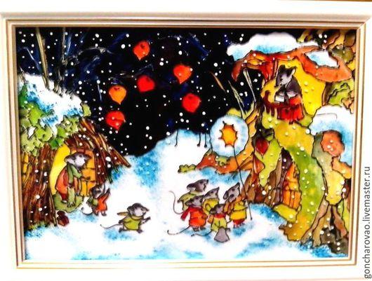 """Животные ручной работы. Ярмарка Мастеров - ручная работа. Купить Картина Витраж """"Зимние праздники"""". Handmade. Тёмно-синий"""