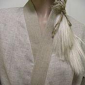 """Одежда ручной работы. Ярмарка Мастеров - ручная работа Халат льняной кимоно """"Благородный"""". Handmade."""