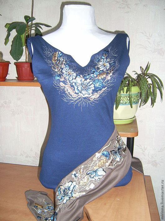 """Платья ручной работы. Ярмарка Мастеров - ручная работа. Купить Платье с вышивкой """"Синий мак"""". Handmade. Синее платье"""