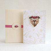 """Открытки ручной работы. Ярмарка Мастеров - ручная работа Открытка в коробочке """"Ключ к сердцу"""" с розовыми розами. Handmade."""