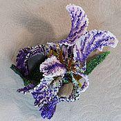 handmade. Livemaster - original item Iris Royal. Flower brooch from Japanese glass seed beads. Handmade.