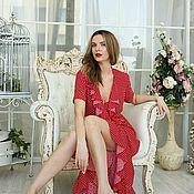 Одежда handmade. Livemaster - original item Polka dot robe dress
