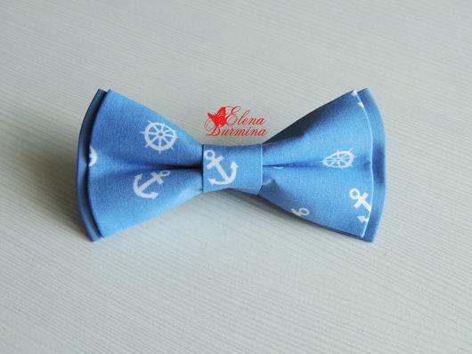 Галстуки, бабочки ручной работы. Ярмарка Мастеров - ручная работа. Купить Бабочка галстук с якорями и штурвалами, хлопок. Handmade. Голубой