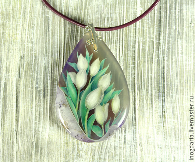 Pendant with the painting 'Seven tulips', Pendants, Moscow,  Фото №1