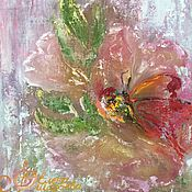 Картины и панно handmade. Livemaster - original item Pictures: Oil painting abstract Flower and Butterfly. Handmade.