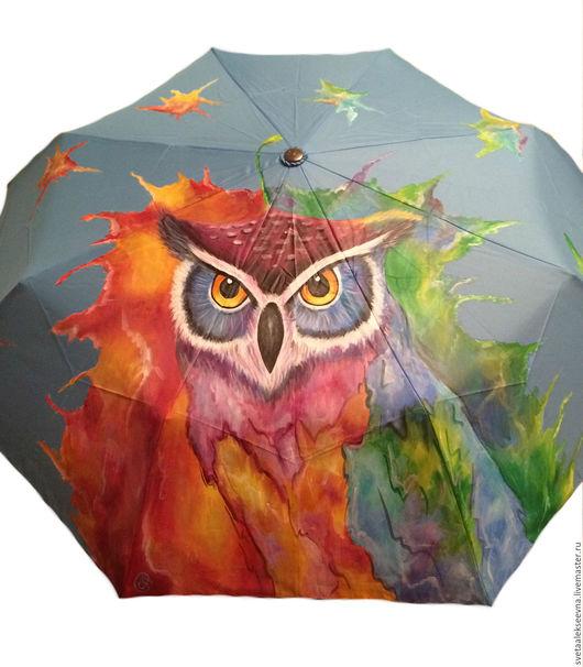 """Зонты ручной работы. Ярмарка Мастеров - ручная работа. Купить Зонт с ручной росписью """"Сова"""". Handmade. Голубой, рисунок"""