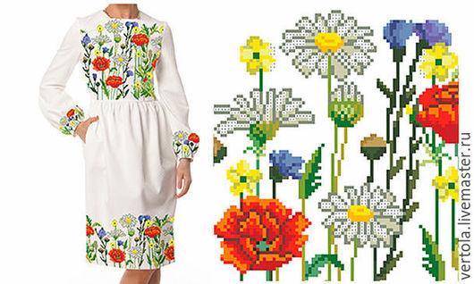 """Платья ручной работы. Ярмарка Мастеров - ручная работа. Купить Заготовка для вышивки платья """"Полевые цветы"""". Handmade. Белый, ромашки"""
