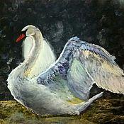 Картины и панно handmade. Livemaster - original item Swan painting with pastels on sandpaper. Handmade.