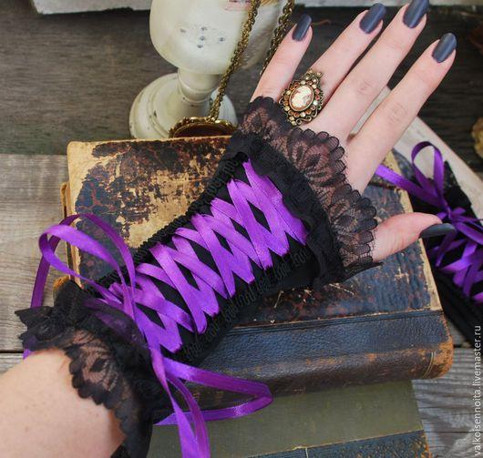 Варежки, митенки, перчатки ручной работы. Ярмарка Мастеров - ручная работа. Купить Бархатные митенки со шнуровкой. Handmade. Митенки