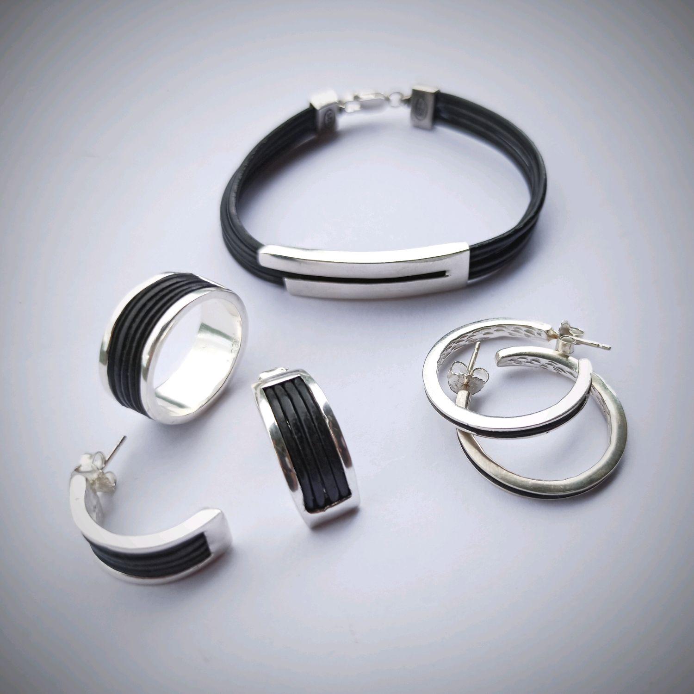Silver semi-circular earrings with a leather insert. Stylish earrings, Congo earrings, Turin,  Фото №1