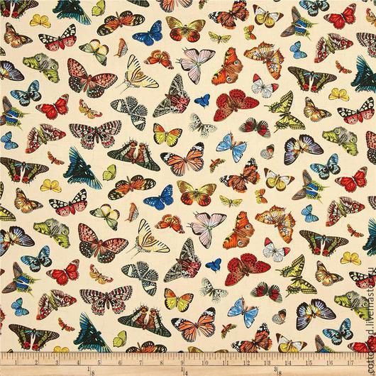 """Шитье ручной работы. Ярмарка Мастеров - ручная работа. Купить Ткань для пэчворка. """"Бабочки"""". Американский хлопок. Арт.260.. Handmade."""