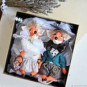 Мягкие игрушки ручной работы. Ярмарка Мастеров - ручная работа Свадебная пара лисичек. Мистер Фокс с дамой.. Handmade.
