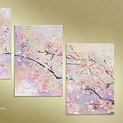 Картины ручной работы. Ярмарка Мастеров - ручная работа Поцелуй Рассвета... Триптих, картина маслом на холсте, цветение вишни. Handmade.