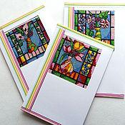 Открытки ручной работы. Ярмарка Мастеров - ручная работа Открытки с яркими цветами в подарок девушке, женщине, подруге, вышивка. Handmade.