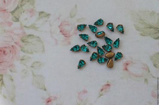 Для украшений ручной работы. Ярмарка Мастеров - ручная работа. Купить 5х4мм Винтажные мини-кристаллы стразы в оправе цвет изумрудный. Handmade.