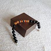 Украшения handmade. Livemaster - original item Men`s bracelet made of onyx,carnelian and pyrite. Handmade.