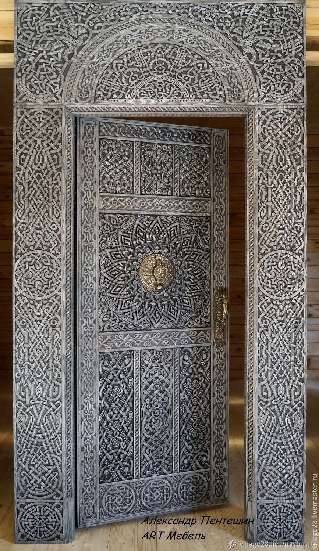 Дверь резная. Кельтский орнамент. Массив ясеня, Двери, Пушкино,  Фото №1