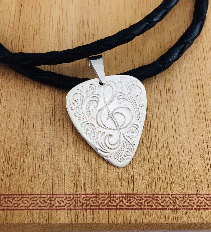 Кулон Медиатор скрипичный ключ серебро с узором, Подвеска, Салават,  Фото №1