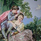 Великолепная громадная картины ручной вышивки,рама дерево с перфорацие