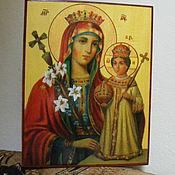 Картины и панно handmade. Livemaster - original item Icon virgin Mary the Unfading blossom, write hot colors on the tree. Handmade.