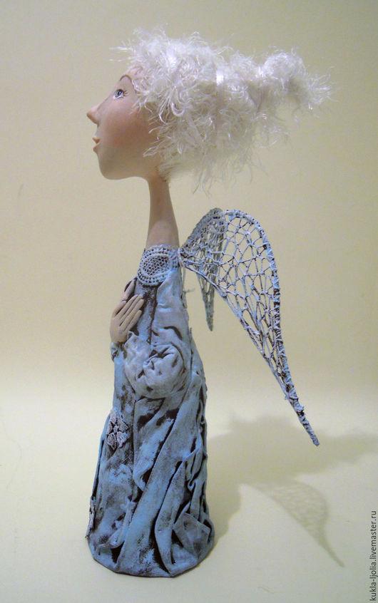 Коллекционные куклы ручной работы. Ярмарка Мастеров - ручная работа. Купить ангел- хранитель. Handmade. Голубой, ангелочки, папье-маше