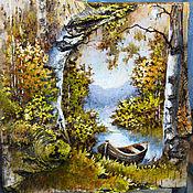 Картины и панно ручной работы. Ярмарка Мастеров - ручная работа Картина на бересте. Лодочка. Осень.. Handmade.