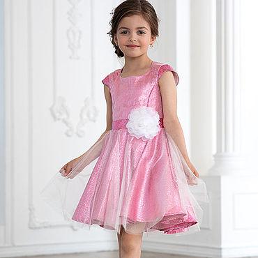 Работы для детей, ручной работы. Ярмарка Мастеров - ручная работа Платье парча розовая с фатином. Handmade.
