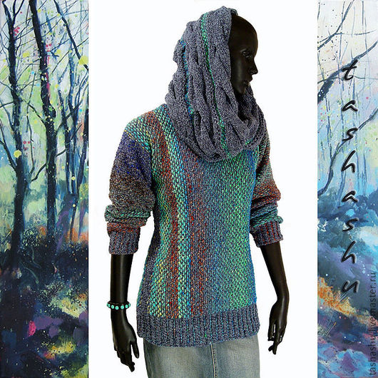 Кофты и свитера ручной работы. Ярмарка Мастеров - ручная работа. Купить Свитер (имитация тканого полотна). Handmade. шерсть