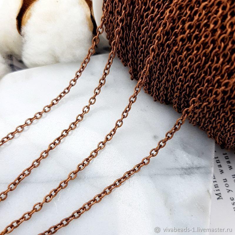 1m Chain 3x2x0.5mm color copper (3363), Chains, Voronezh,  Фото №1