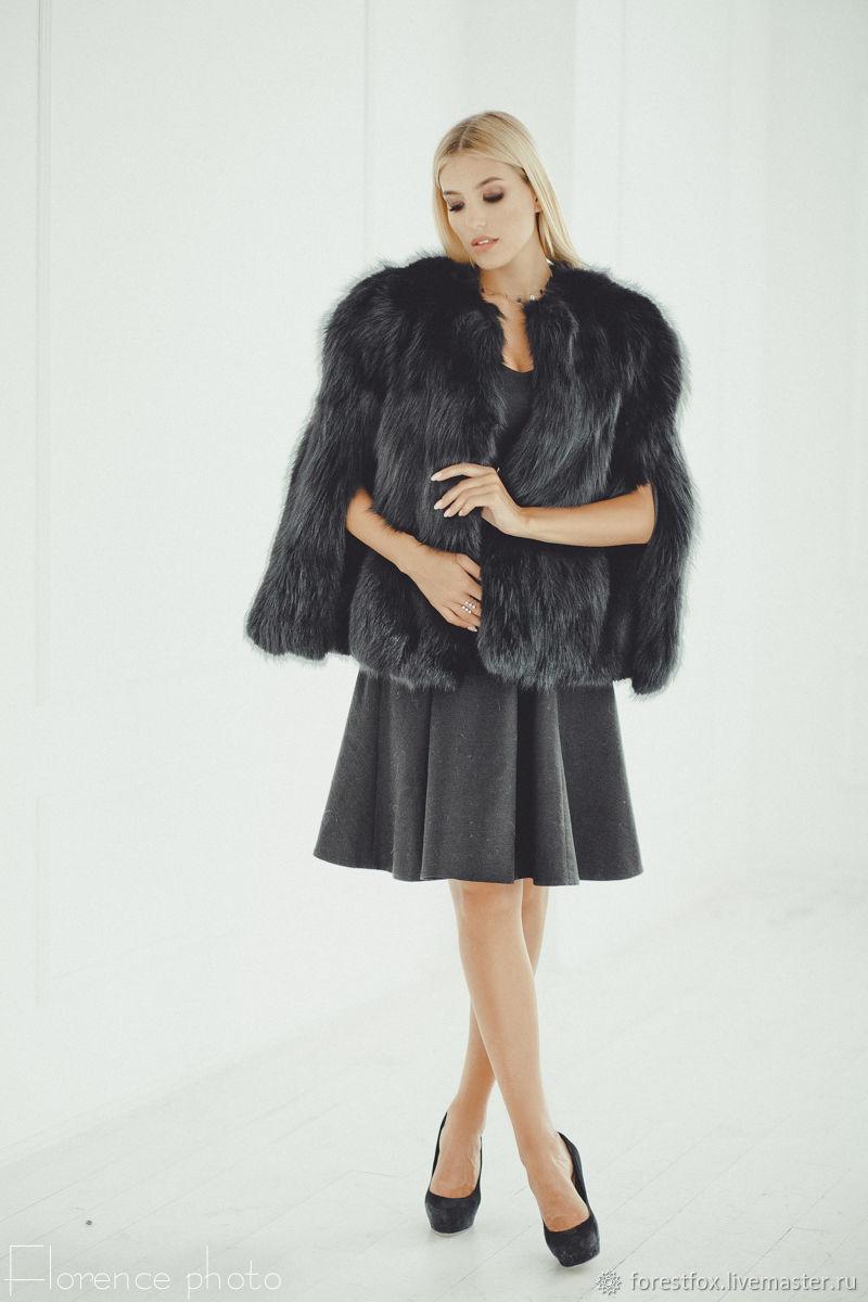 Fox fur wedding cape in black, Fur Coats, Moscow,  Фото №1