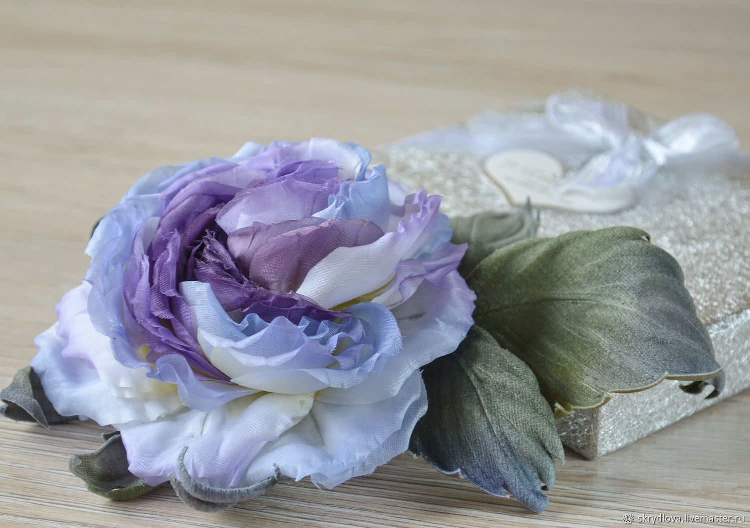 Brooch flower made of fabric rose made of silk Jacqueline, Brooches, Lyubertsy,  Фото №1