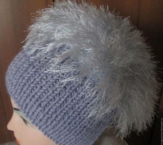 """Шапки ручной работы. Ярмарка Мастеров - ручная работа. Купить Вязаная шапочка с отделкой """"под мех"""" серая. Handmade."""