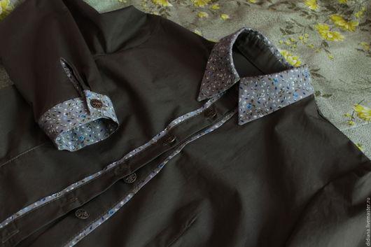 Блузки ручной работы. Ярмарка Мастеров - ручная работа. Купить Рубашка из хлопка Хвоя. Handmade. Хаки, рубашка в офис