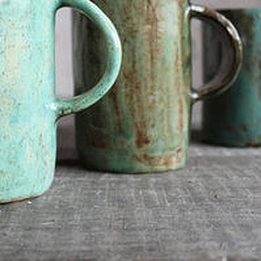 Посуда ручной работы. Ярмарка Мастеров - ручная работа Кружечки бирюзовые. Handmade.