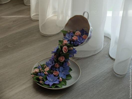 Интерьерные композиции ручной работы. Ярмарка Мастеров - ручная работа. Купить Композиция с бутонами роз и фрезией из полимерной глины Цветочный чай. Handmade.