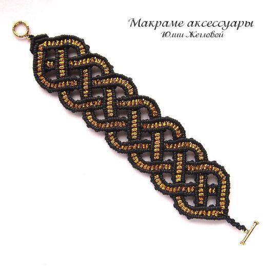 Браслеты ручной работы. Ярмарка Мастеров - ручная работа. Купить Черно-золотой ажурный браслет, макраме. Handmade. Черный, плетеный