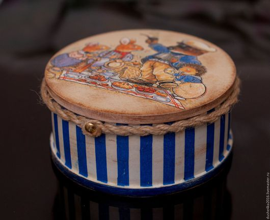 Шкатулки ручной работы. Ярмарка Мастеров - ручная работа. Купить Шкатулка круглая Foxwood tales. Handmade. Тёмно-синий, шкатулка