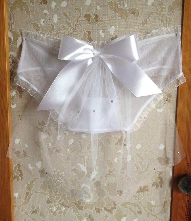 Одежда и аксессуары ручной работы. Ярмарка Мастеров - ручная работа. Купить Свадебные трусики с фатой в стиле ретро. Handmade. Белый