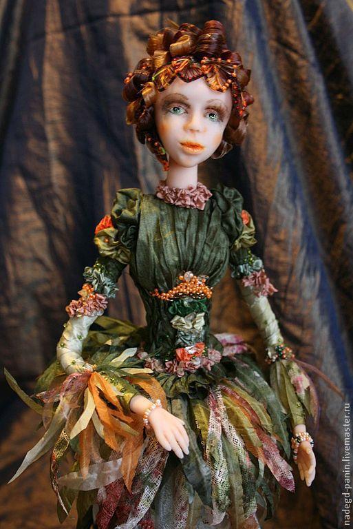 """Коллекционные куклы ручной работы. Ярмарка Мастеров - ручная работа. Купить Кукла """"Флора"""". Handmade. Тёмно-зелёный, натуральные волосы"""