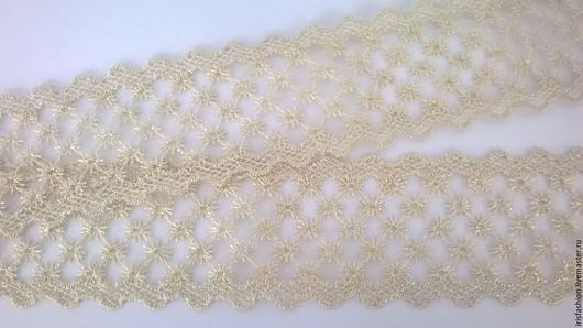 Шитье ручной работы. Ярмарка Мастеров - ручная работа. Купить Кружево 55 мм вышитое на сетке Белое с  золотыми нитками. Handmade.