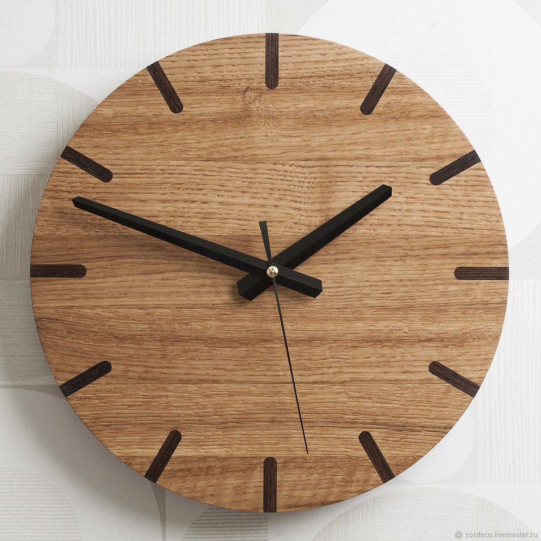Часы настенные круглые из дуба №39, Часы классические, Раменское,  Фото №1