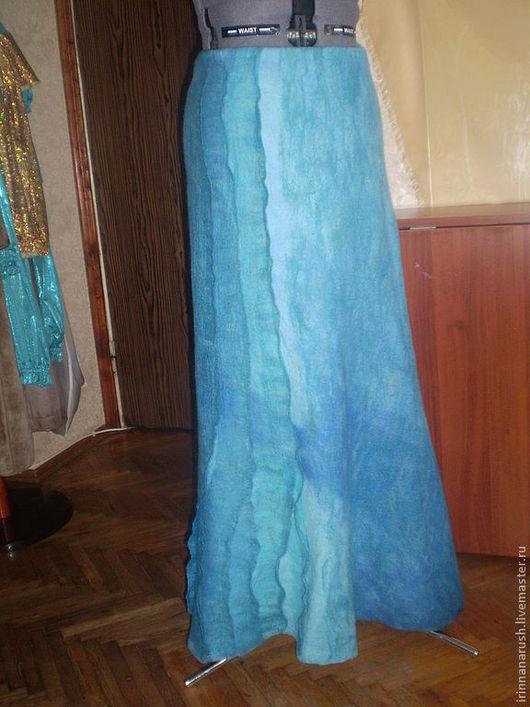 Юбки ручной работы. Ярмарка Мастеров - ручная работа. Купить Валяная юбка    Вспоминая море.... Handmade. Синий, шерсть 100%
