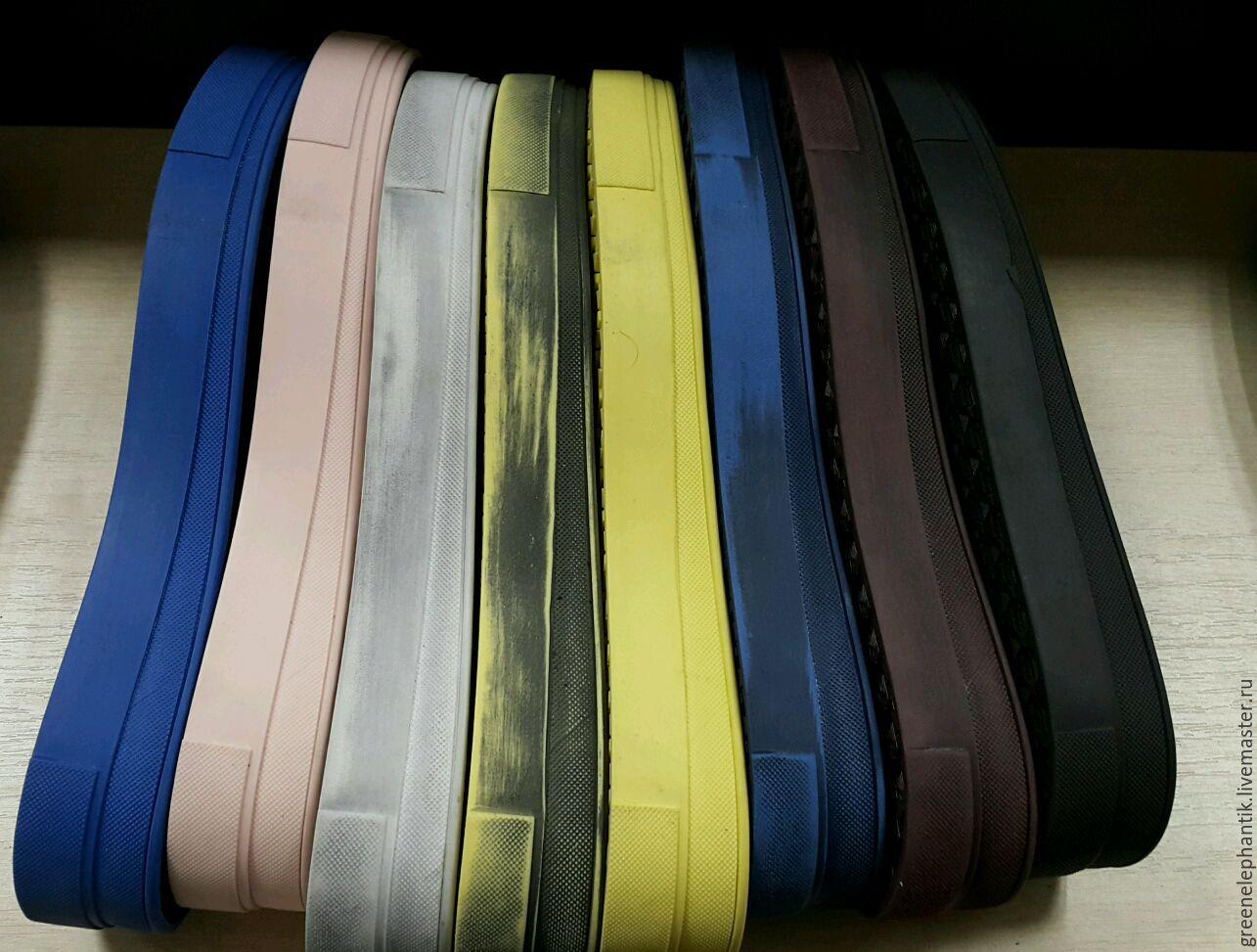 Подошва ` Katja` для слипонов В наличии как однотонная, так и тертая. Белый, черный, синий, темно синий,  бордо, розовый, красный, желтый. И все эти цвета есть тертые. Цена для однотонной. Тертая 5 $