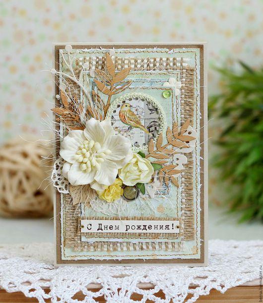 Купить конверт для денег, купить открытку с днем рождения,  в бежево-зеленых тонах с птичкой. Магазин `Фотоальбомы и открытки`