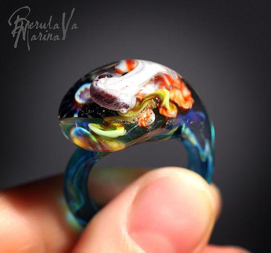Rings handmade. Livemaster - handmade. Buy Ring 'Treasures of the seas'.Marina berulava, medusa, glass